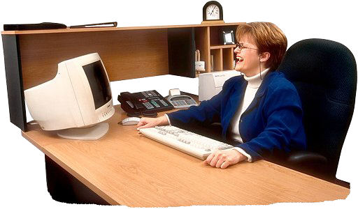 woman at desk laughing uid 1053967